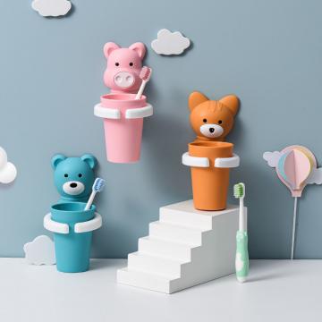 儿童卫生间牙刷牙膏架漱口杯套装置物架挂壁式免打孔宝宝刷牙杯子