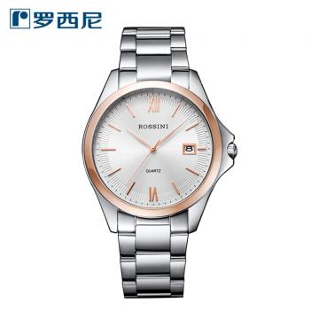 J-罗西尼 ROSSINI 手表启迪系列简约日历显示钢带进口石英机心男女情侣对表