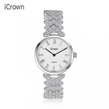 J-艾克朗/icrown女表外径29mm锆石手工镶嵌豪华气质潮流时尚防水手表型号2461062