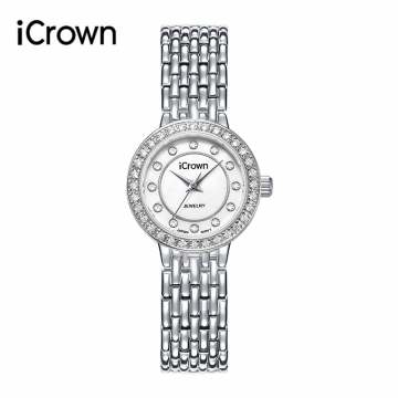 J-艾克朗icrown女表简约气质镶嵌锆石水钻潮流时尚防水手表时装表 2460563L
