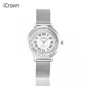 J-艾克朗/icrown女表外径36mm真皮防水潮流时尚锆石手工镶嵌手表型号71162