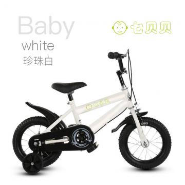 J-七贝贝 儿童自行车男童女童12寸珍珠白带辅助轮脚踏车YBX-01 1201