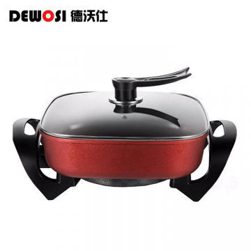 S-德沃仕多功能电热锅5升大容量双发热管电煮锅电火锅 DWS-1200