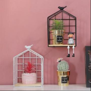 北欧简约小鸟铁艺网格置物架创意家居客厅装饰墙上收纳整理架