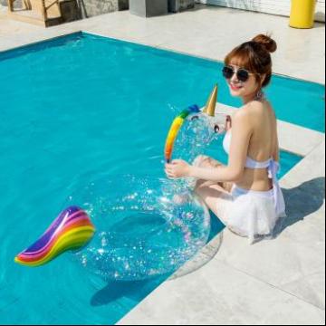 新款全透明亮片火烈鸟独角兽游泳圈网红PVC水圈
